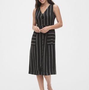 NWT Gap Button Front Striped Midi Dress